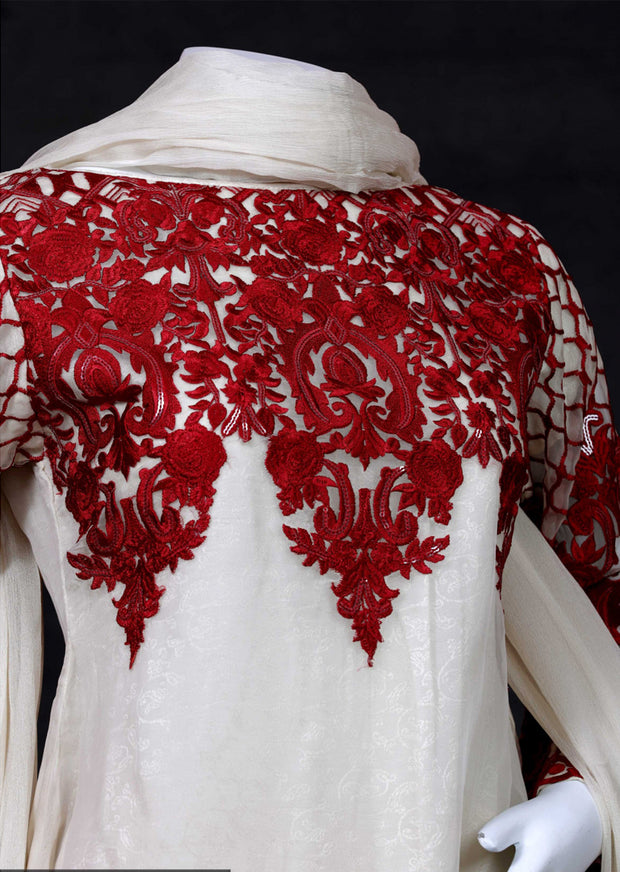 Red - Sha Posh - Readytowear - Chiffon Dress - Pakistani Partwear Design - Memsaab Online