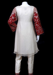 4772-SJ-CF - Red - Sha Posh - Readytowear - Chiffon Dress - Pakistani Partwear Design - Memsaab Online