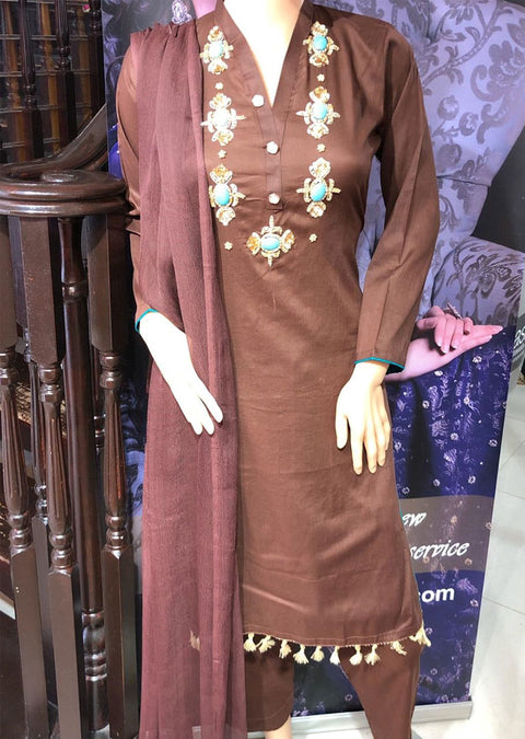 SD01 Brown Readymade Lawn Suit with Handwork - Memsaab Online