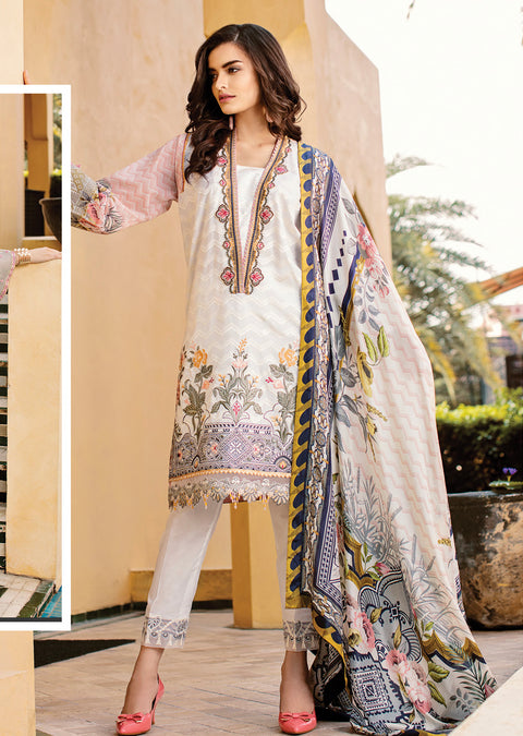 04 White Dahlia - Baroque Lawn Collection 2019 - Pakistani Lawn Salwar Kameez Embroidered Summer Designer - Memsaab Online