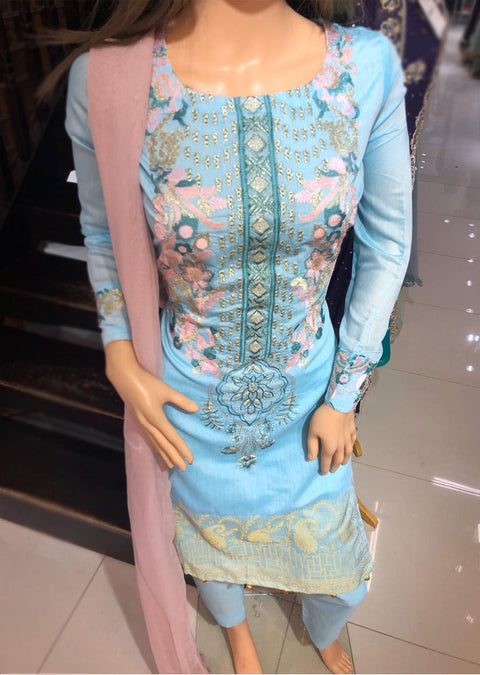 SD13 Readymade Turquoise Cotton Suit - Memsaab Online