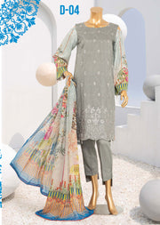 D-04 Unstitched - Royal - Steple Suit by Javed Arts - Memsaab Online