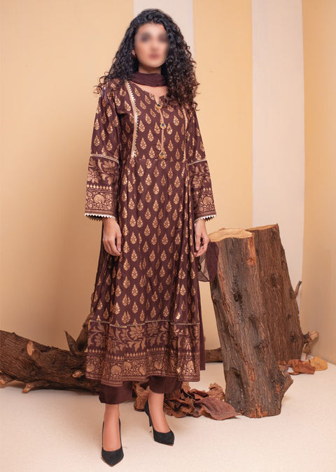 HK49 Brown Embroidered Linen Dress - Memsaab Online