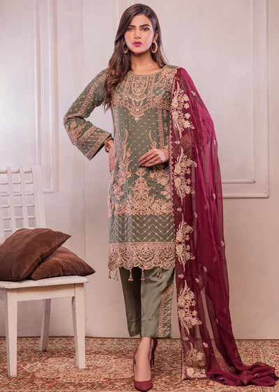 0740 Readymade Green Chiffon Embroidered Suit
