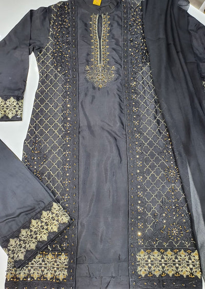 ZN1259 Readymade Black Viscose Suit - Memsaab Online