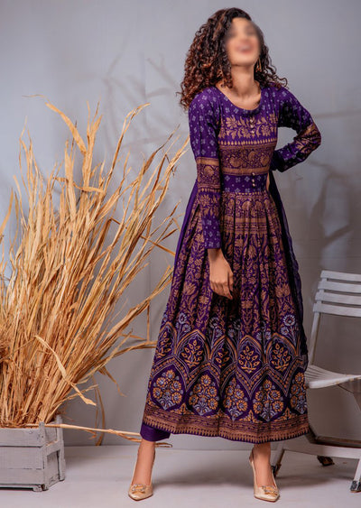 HK03 Readymade Purple Pleated Long Linen Suit - Memsaab Online