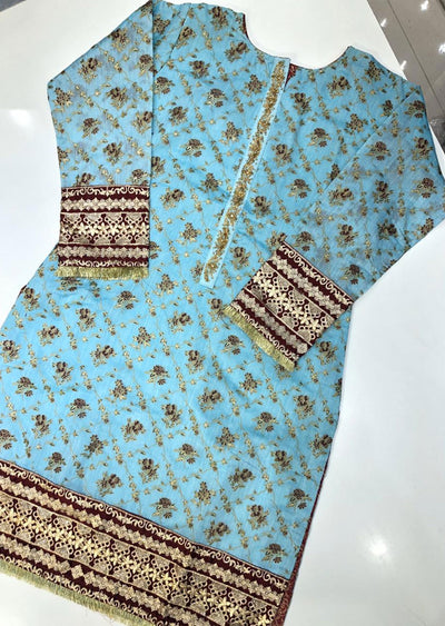MR908 Readymade Light Blue Paper Cotton Kurti - Memsaab Online
