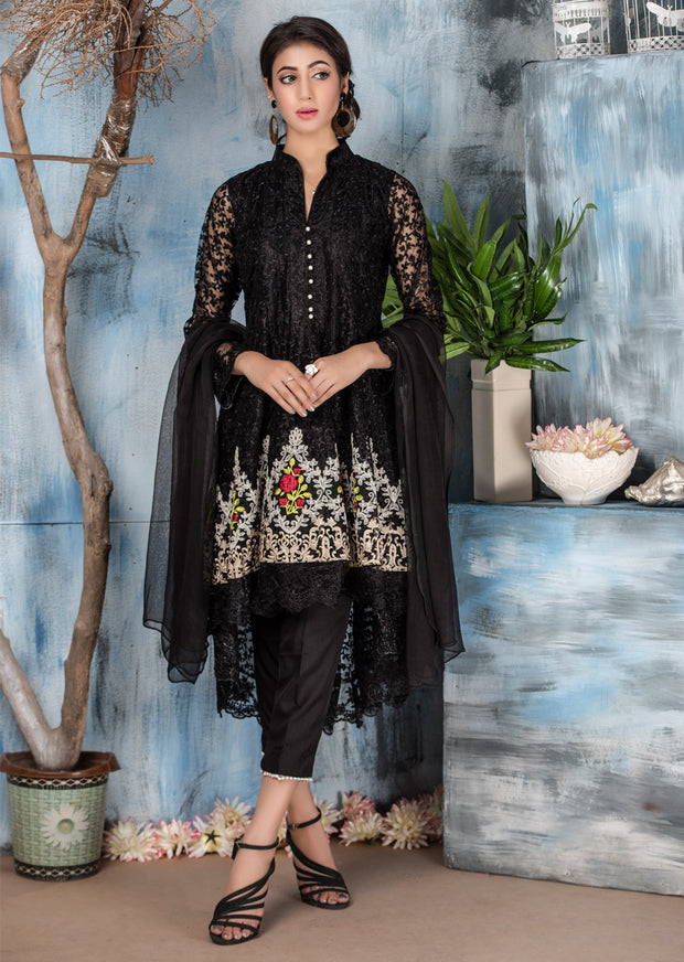 Amura - Black - Memsaab Exclusive Ready to Wear Eid Collection - Partywear Net Organza Dresses - Memsaab Online