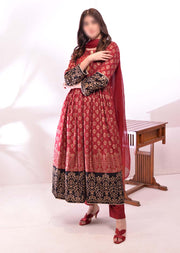 HK51 Mother & Daughter Maroon Block Print Linen Dress - Memsaab Online
