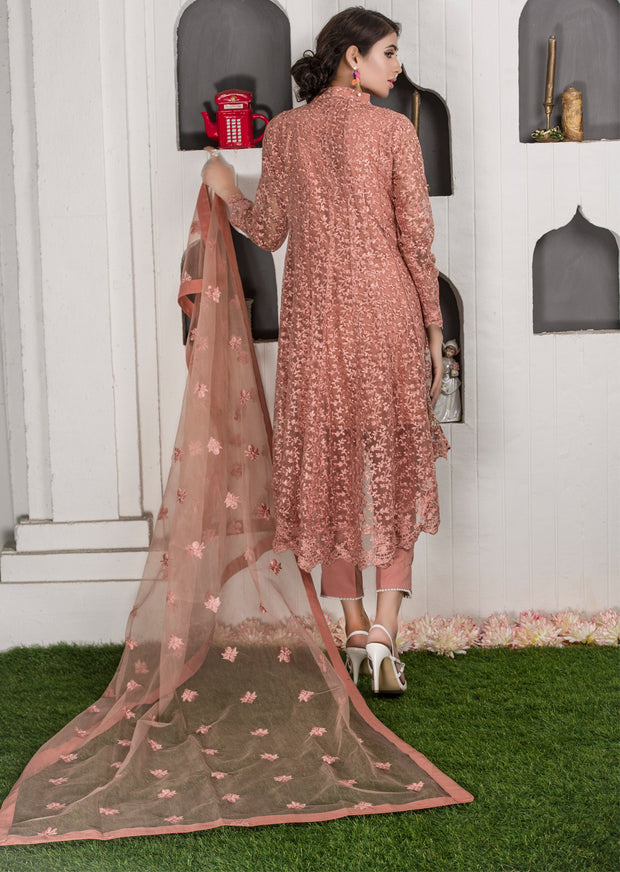 Amura - Peach - Memsaab Exclusive Ready to Wear Eid Collection - Partywear Net Organza Dresses - Memsaab Online
