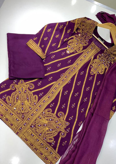 BLG204 Purple Readymade Block Print Mirror Suit - Memsaab Online