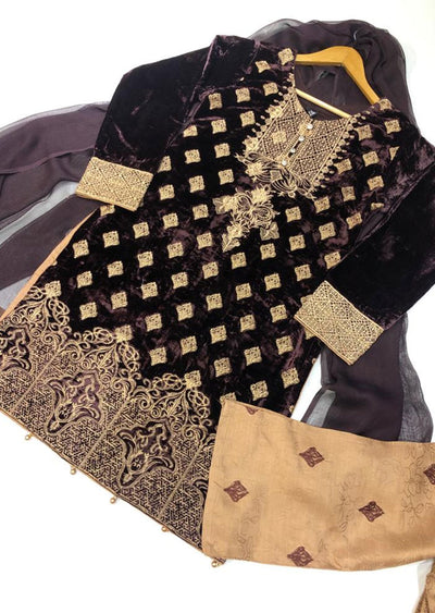 BLV502 Brown Embroidered Velvet Suit - Memsaab Online