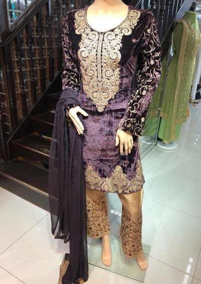 BLV503 Brown Embroidered Velvet Suit - Memsaab Online