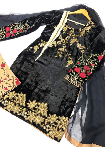 BLV504 Black Embroidered Velvet Suit - Memsaab Online