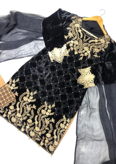 BLV505 Black Embroidered Velvet Suit - Memsaab Online