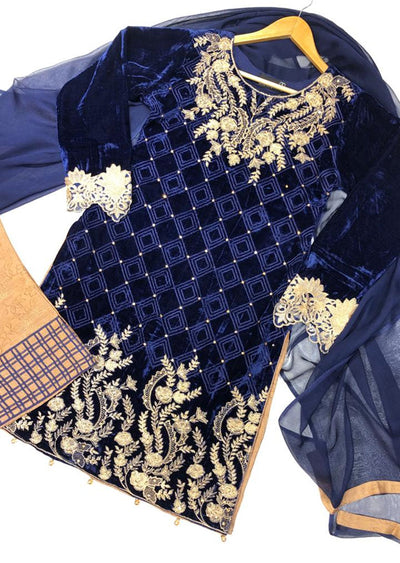 BLV505 Blue Embroidered Velvet Suit - Memsaab Online