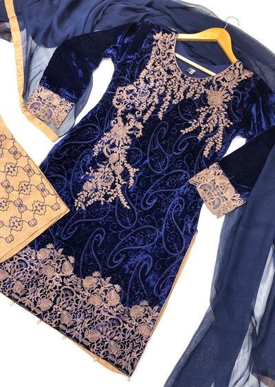 BLV506 Blue Embroidered Velvet Suit - Memsaab Online