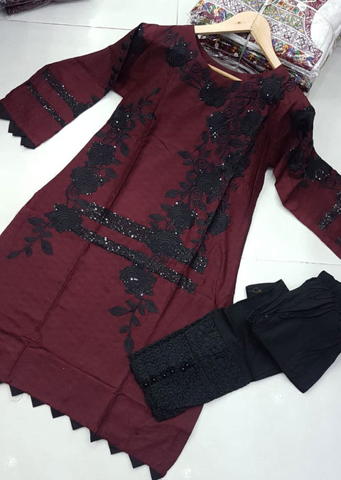 ZA506 Maroon Readymade Cotton Embroidered Kurti - Memsaab Online