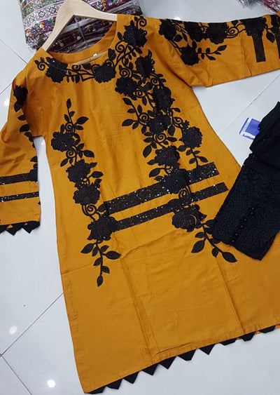ZA506 Mustard Readymade Cotton Embroidered Kurti - Memsaab Online