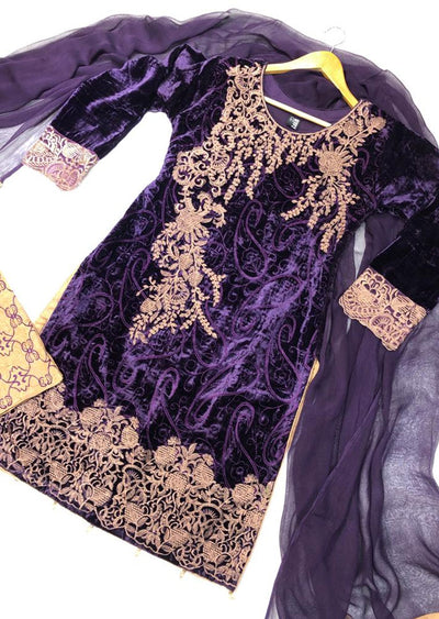 BLV506 Purple Embroidered Velvet Suit - Memsaab Online