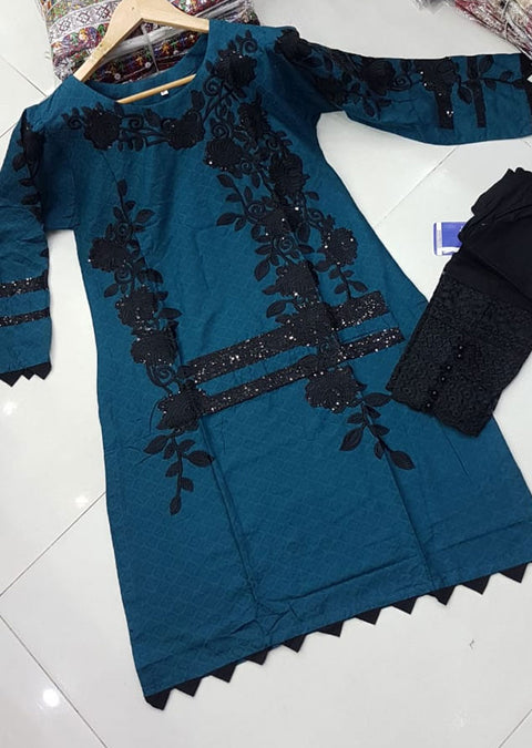 ZA506 Teal Readymade Cotton Embroidered Kurti - Memsaab Online