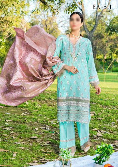 EA-511 Unstitched Eshaisha Luxury Lawn Embroidered Collection 2020 - Memsaab Online