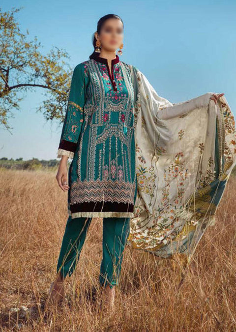 ESA-513 - Eshaisha Luxury Winter Embroidered Collection 2020 - Unstitched Pakistani Designer Suit - Memsaab Online