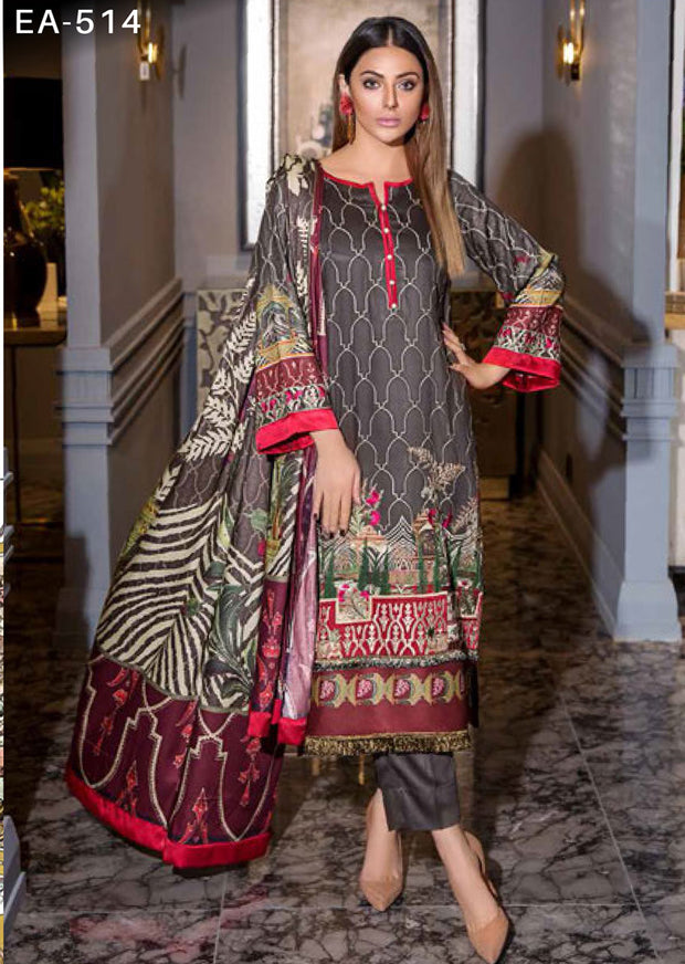 EA-514 Unstitched - Eshaisha Luxury Winter Embroidered Collection 2019 - Pakistani Designer Clothes - Memsaab Online