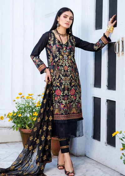 EA-516 Unstitched Eshaisha Luxury Lawn Embroidered Collection 2020 - Memsaab Online