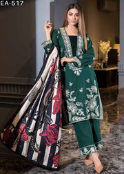 EA-517 Unstitched - Eshaisha Luxury Winter Embroidered Collection 2019 - Pakistani Designer Clothes - Memsaab Online