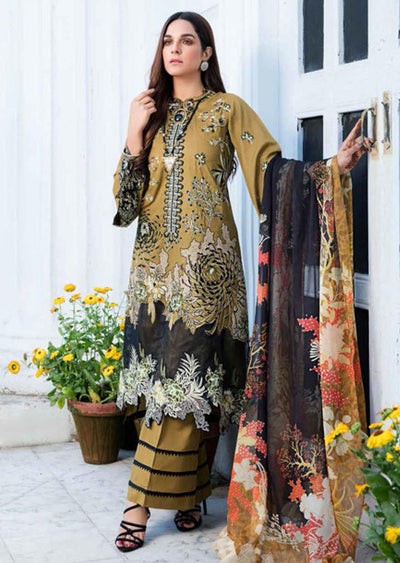 EA-518 Unstitched Eshaisha Luxury Lawn Embroidered Collection 2020 - Memsaab Online