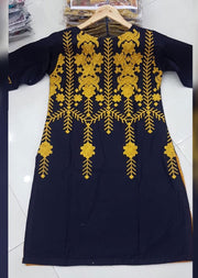 ZA520 BLUE Readymade Embroidered Kurti - Memsaab Online