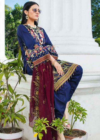 EA-520 Unstitched Eshaisha Luxury Lawn Embroidered Collection 2020 - Memsaab Online