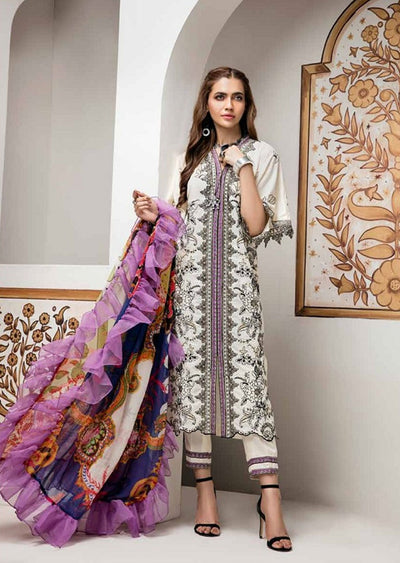 AE-521 Unstitched Abiha's by Eshaisha Luxury Lawn Embroidered Collection 2020 - Memsaab Online