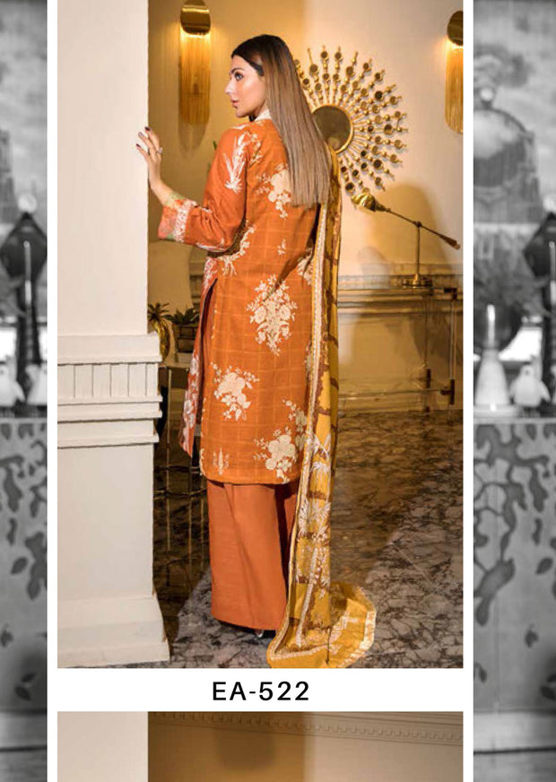 EA-522 Unstitched - Eshaisha Luxury Winter Embroidered Collection 2019 - Pakistani Designer Clothes - Memsaab Online