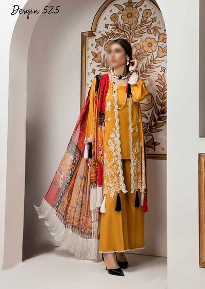 AE-525 Unstitched Abiha's by Eshaisha Luxury Lawn Embroidered Collection 2020 - Memsaab Online