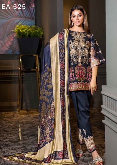 EA-525 Unstitched - Eshaisha Luxury Winter Embroidered Collection 2019 - Pakistani Designer Clothes - Memsaab Online