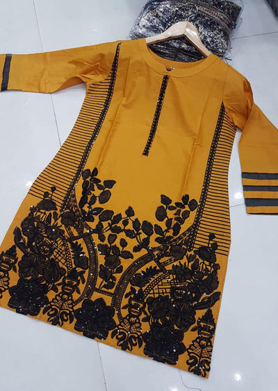 ZA527 YELLOW Readymade Linen Embroidered Kurti - Memsaab Online