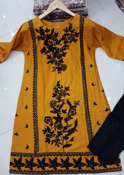 ZA528 YELLOW Readymade Linen Embroidered Kurti - Memsaab Online