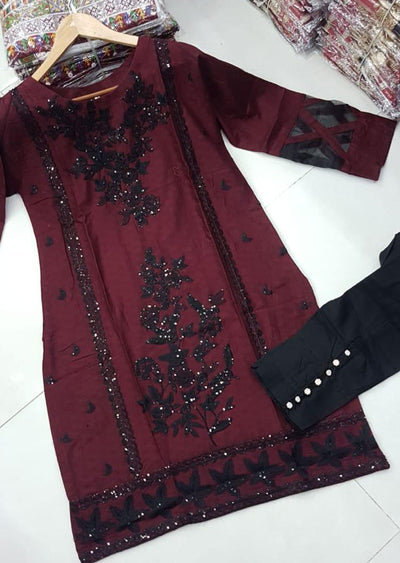 ZA528 RED Readymade Linen Embroidered Kurti - Memsaab Online