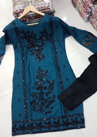 ZA528 TEAL Readymade Linen Embroidered Kurti - Memsaab Online