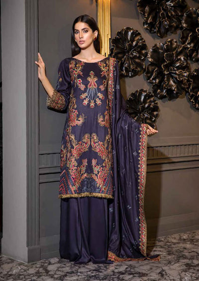EA-528 Unstitched - Eshaisha Luxury Winter Embroidered Collection 2019 - Pakistani Designer Clothes - Memsaab Online