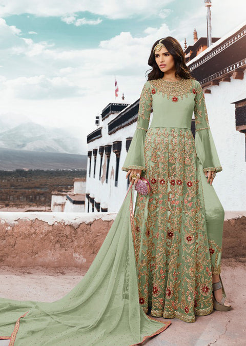 5402 - Green - Unstitched - Sampan Inspired Heavy Embroidered Partywear dress - Memsaab Online