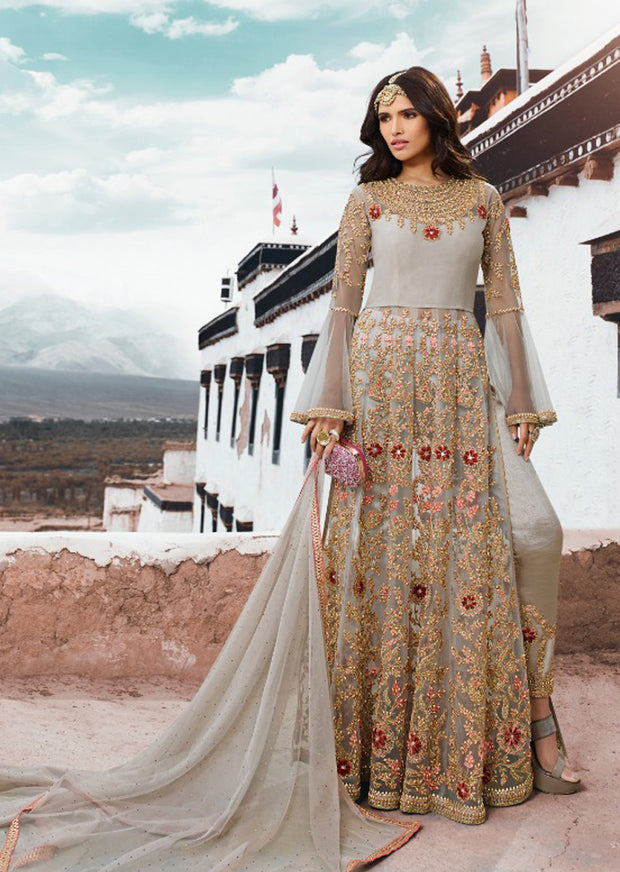 Grey - Unstitched - Sampan Inspired Heavy Embroidered Partywear dress - Memsaab Online