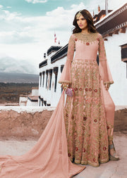 Peach - Unstitched - Sampan Inspired Heavy Embroidered Partywear dress - Memsaab Online