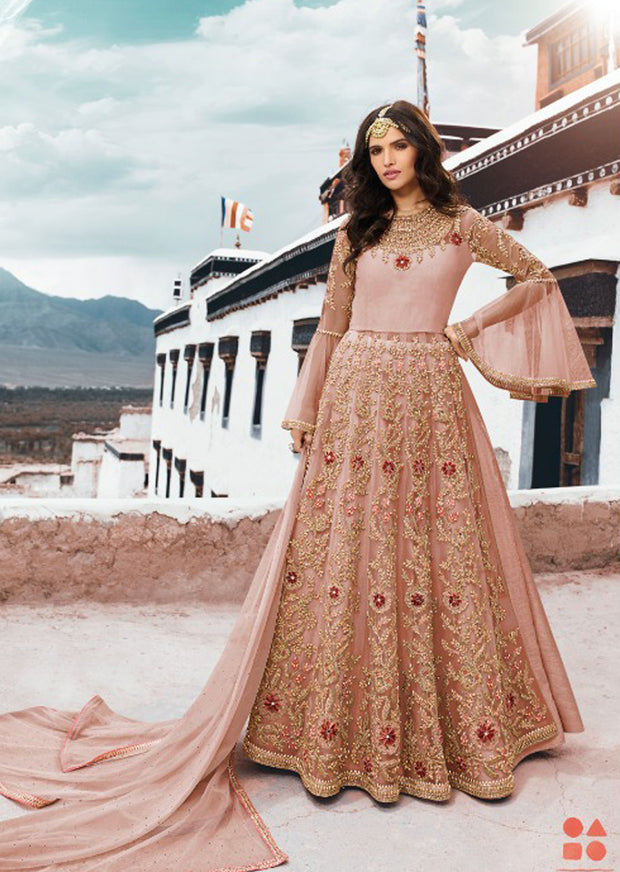 5402 - Peach - Unstitched - Sampan Inspired Heavy Embroidered Partywear dress - Memsaab Online