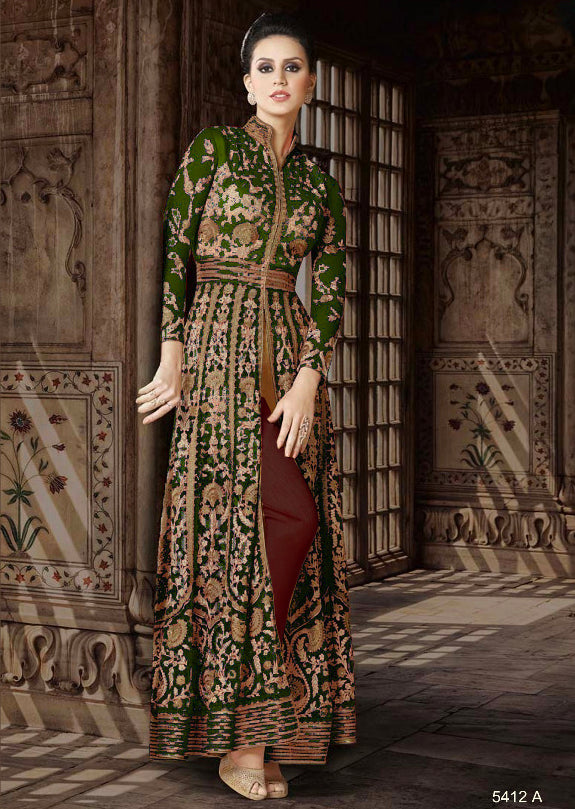 5412 Violet Amrose Replica - Dark Green - Net Anarkali heavy embroidered suit Indian fashion UK delivery - Memsaab Online