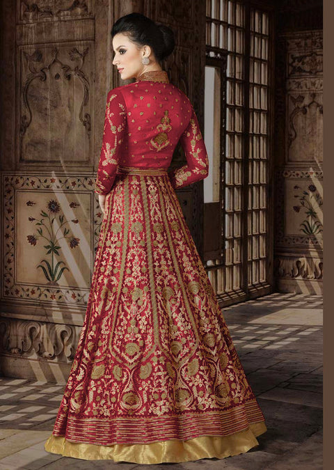 5412 Violet Replica - Red - Net Anarkali heavy embroidered suit Indian fashion UK delivery - Memsaab Online
