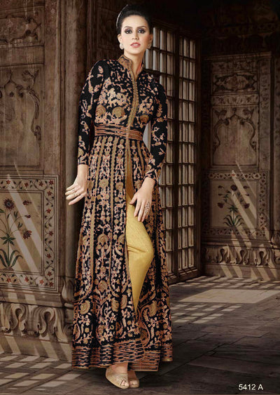5412 Violet Amrose Replica - Black - Net Anarkali heavy embroidered suit Indian fashion UK delivery - Memsaab Online