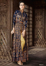 5412 Violet Amrose Replica - Blue - Net Anarkali heavy embroidered suit Indian fashion UK delivery - Memsaab Online
